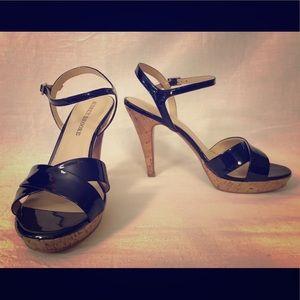 Audrey Brooke Patent Leather Cork Heels - size 8